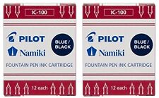 Pilot Namiki IC100 Fountain Pen Ink Cartridge, Blue/Black, 12 Cartridges per ...
