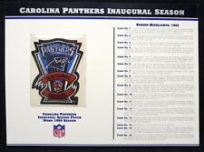 CAROLINA PANTHERS INAUGURAL SEASON NFL PATCH STAT CARD Willabee & Ward WORN 1995