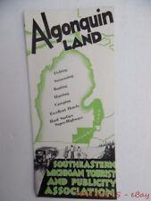 c1929 Algonquin Land Southeast Michigan Tourist Publicity Bureau Travel Brochure
