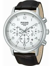 Pulsar Gents Chronograph Date Leather Strap Watch - PT3383X1 PNP