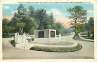 Confederate Women's Memorial Monument Jacksonville Florida 1920s Postcard 6755