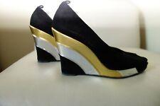 $600 BIBA black suede gold silver wedge platform shoe sz 41 10 US