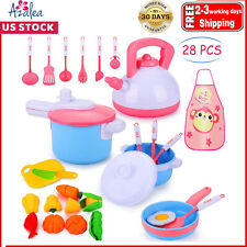 PRETEND PLAY KITCHEN SET Toys 28Pcs, Cooking Set, Pots and Pans
