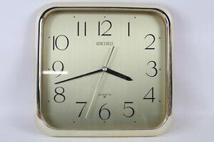 "Vintage Seiko Quartz Wall Clock Battery Powered Gold 10.25"" 10"" x 10 1/4"" Japan"