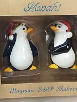 MWAH! Santa hat Penguin Magnetic Salt & Pepper Shakers NEW!  2010 💋