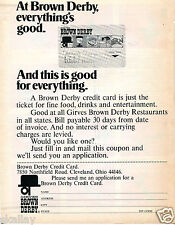 1972 Print Ad of Girves Brown Derby Restaurant Credit Card Cleveland OH