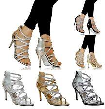 Mujer Fiesta Noche Nupcial Diamante Zapatos de Tacón Sandalias Size-0616