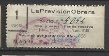 8372-SELLO ESPAÑA CUOTA LA PREVISION OBRERA EN CATALAN Y CASTELLANo 1944