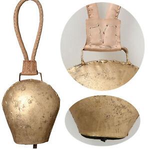 Kuhglocke Eisen 25cm Gold Braun Lederband Nostalgie Glockenschelle Deko-Glocke