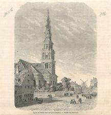 Voyage Danemark église de Saint-Sauveur île d'Amac dessin Thérond GRAVURE 1862