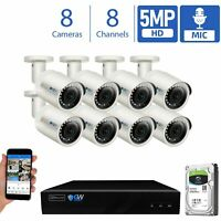 8 / 16 Channel 5MP Video & Audio PoE IP Bullet Outdoor Security Camera System