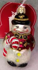 New Slavic Treasures Retired Glass Ornament - Pudge Snowman 2001
