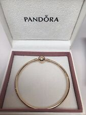 New w/GIFT SET Pandora Large 14 kt ALL Gold Bangle Bracelet 21 CM 8.3 in 550713