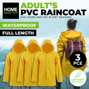 Home Master® 3PK Raincoat Adult Full Length Thick Durable PVC Lightweight