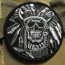 DEATH SKULL WAR CHIEF USA ARMY MORALE MILSPEC AIRSOFT PATCH /WHITE