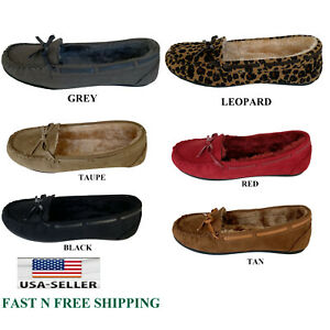 Womens Slip On Winter Fur Suede Moccasins Indoor and Outdoor Shoes Slipper