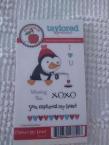 USED TAYLORED EXPRESSIONS RUBBER EMBOSSING CAPTURE MY HEART STAMP 6 PC SET,LOVE,