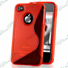 CASE COVER COVERS TPU S SILICONE GEL S-LINE RED FILM FOR APPLE IPHONE 4 / 4S