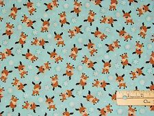 Santa's Little Deer Reindeer Blue Benartex Christmas Fabric by the 1/2 Yard
