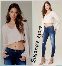 NWT bebe Ribbed Bell Sleeve Crop Top SIZE XL Chic and sexy, soft rib knit!