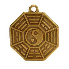 """YIN YANG FENG SHUI CHARM 0.75"""" Brass Pendant Bagua Protection Good Luck Cure"""