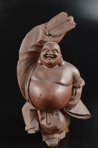 #8658: Japanese Wooden HoteiSTATUE sculpture Ornament Figurines Okimono