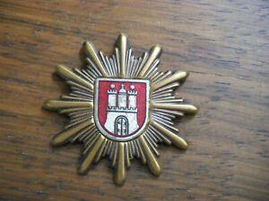 Polizei Hamburg-alt Abzeichen-Stern Metall+bronziert-für Uniform Mütze-nach 1945