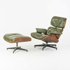 1956 Herman Miller Eames Lounge Chair and Ottoman 670 671 in Green w Boot Glides