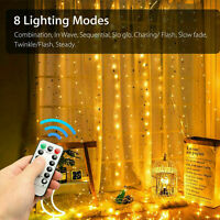 HOT 300 LED Curtain Fairy Lights USB String Light With Remote Xmas Party Wedding