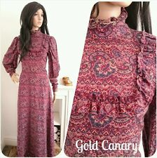 Vintage 60s 70s Frill Paisley Floral Boho Victorian Wool Maxi Dress 10 38