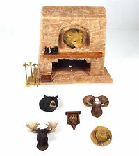 Miniature Dollhouse Hunting Lot Stone Fireplace/Moose Bear Lion Head Wall Plaque