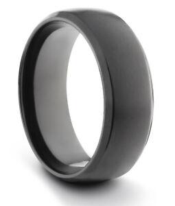 TungstenMasters 8MM/6MM TITANIUM Mens/Womens Matte Black Wedding Band Ring