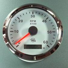 ELEKTRONISCHER  DREHZAHLMESSER  weiß - 6000UPM  85mm  mit  Stundenzähler  Chrom