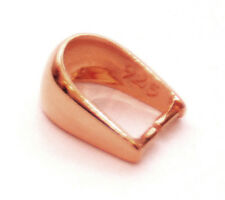 1 LARGE STERLING SILVER 925 ROUNDED PINCH BAIL, 12 X 7 MM, ROSE GOLD PLATED