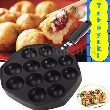 12 Holes Takoyaki Pan Octopus Small Balls Maker Baking Grill Pan 33.8x18x2.5cm