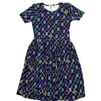 Lularoe Amelia Womens Dress Size M Print Stretch Knit Pleated Multicolor Pockets