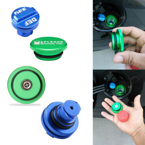 Blue Diesel Fuel Cap & Green DEF Cap Set For 2013-2018 Dodge Ram 1500 2500 3500