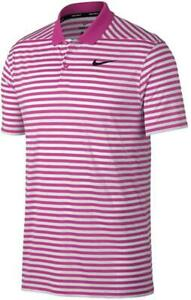 Nike Men's Dry Victory Polo Stripe Left Chest Medium Pink/White