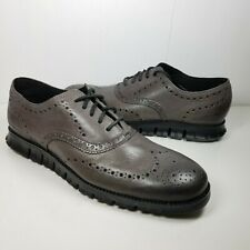 Cole Haan ZeroGrand Mens Wingtip Oxfords gray leather perforated shoes sz 11 new