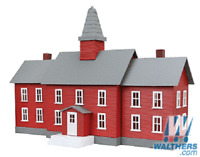 Model Power HO Built-Up Buildings - Lighted w/2 Figures  Little Red School House