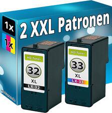 2x DRUCKER PATRONE für LEXMARK 32+33 XL SET X3310 X3330 X3350 Z815 Z816 P6210