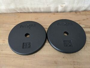 """2x Yes4All 1"""" Standard Pair of 15lb Pancake Weight Plates 30lb Total - Black"""