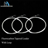 Maxcatch 9ft 0X-7X Fluorocarbon Tapered Leader Line with Loop Fly Fishing Leader
