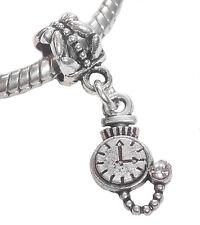 Pocketwatch Stopwatch Watch Clock Dangle Bead for Silver European Charm Bracelet