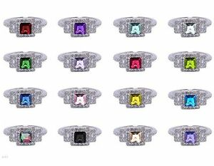 White Gold Princess Cut Promise Engagement Wedding Birthstone w/ Clear CZ Ring