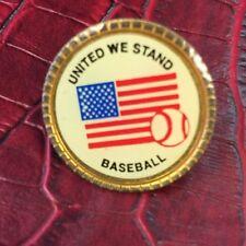 United We Stand Baseball American Flag Gold Tone Pin