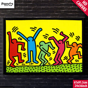 Keith Haring Dance Poster Canvas (60x90cm/24x36in) Dance People Pop Art Print