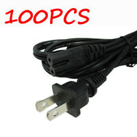 100X US 6 Feet 2 Prong 2Pin AC Power Cord Cable Charge Adapter PC Laptop PS2 PS3