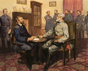 Civil War Painting: General Grant Meets Robert E. Lee - Fine Art Canvas Print