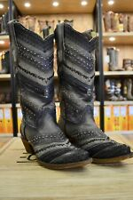 Corral Ladies Black & Grey Embroidered w/Braiding and Studs Leather Boots A3355